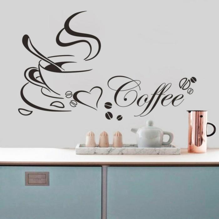 küchen wandtattoos wandsticker kaffee sprüche hellblaue küchenschränke
