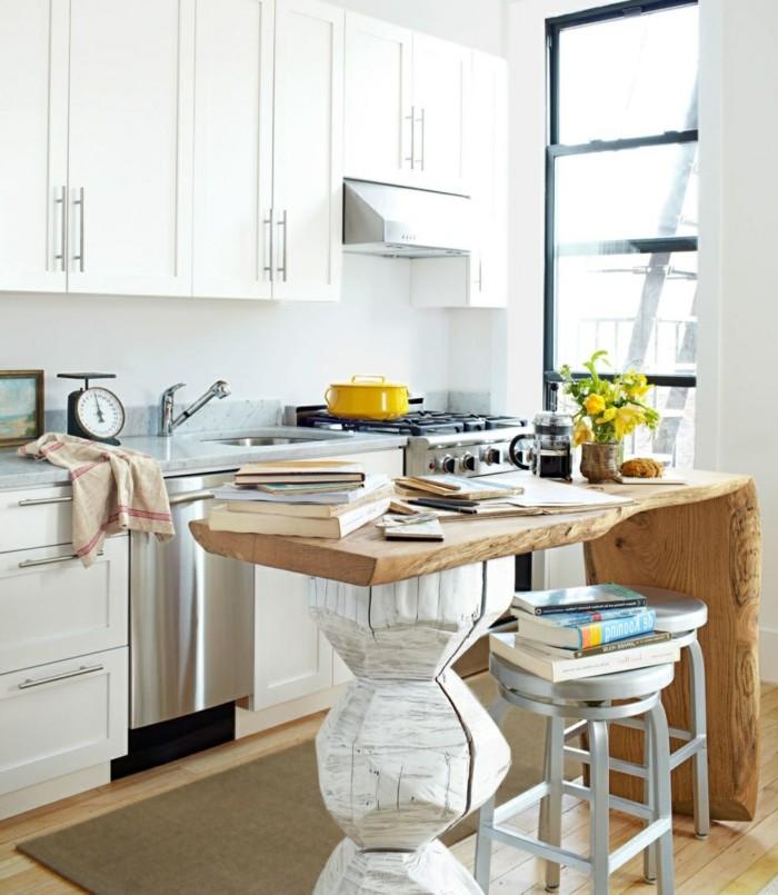 kücheneinrichtung ausgefallene kücheninsel holzakzente weiße küchenschränke
