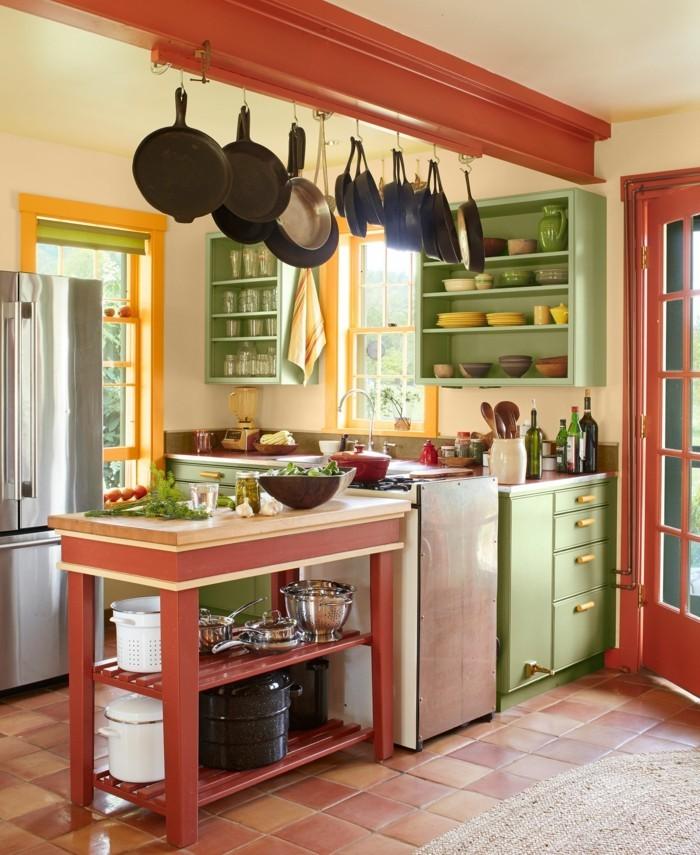 kücheneinrichtung farbige akzente bodenfliesen