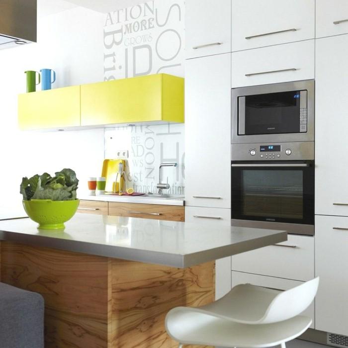 kücheneinrichtung gelbe akzente moderne kücheninsel stauraum dekoideen