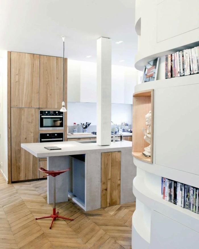 kücheneinrichtung kücheninsel holztexturen weiße wände