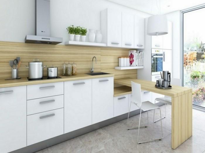 kleine küche einrichten ideen holztexturen weiße küchenschränke