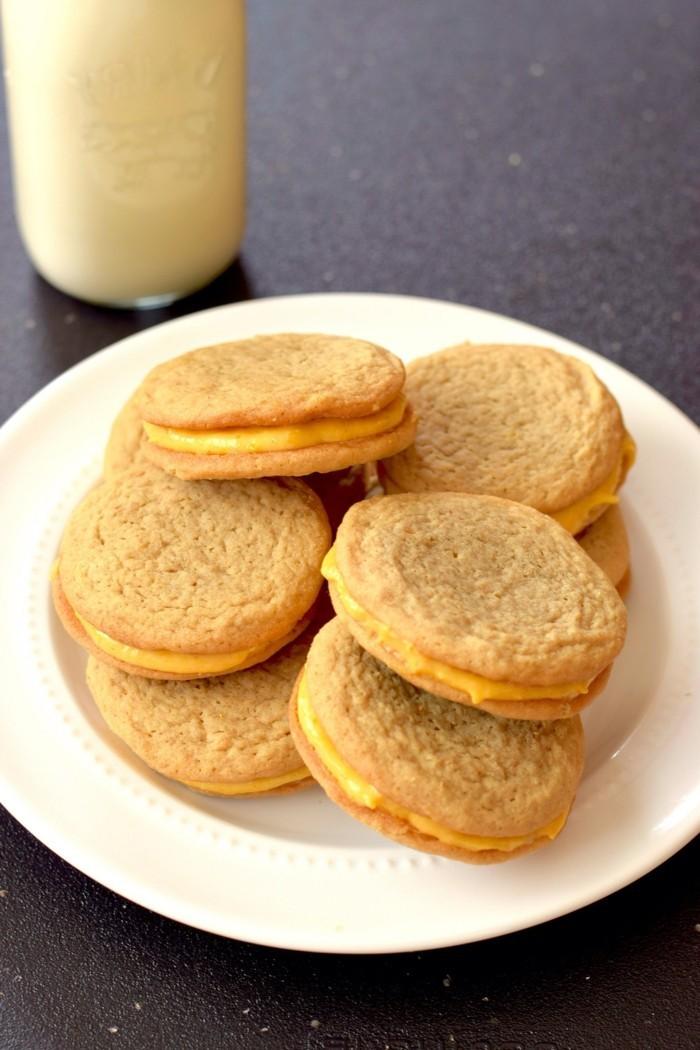 kekse backen ideen sandwich kekse kürbis