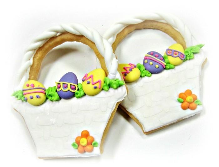 kekse selber backen osterkorb eier farbig