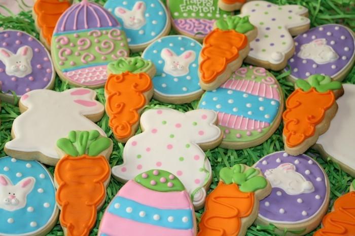 kekse selber backen ostern farbige glasur