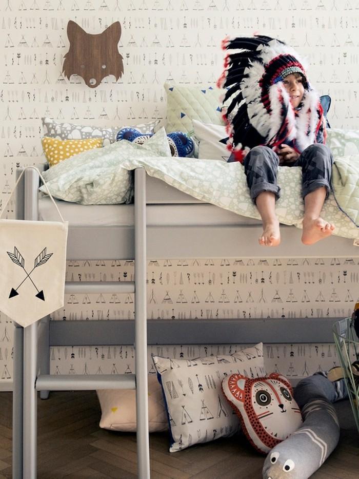 kinderzimmer skandinavisch einrichten hochbett kindertapette bettwäsche ferm living