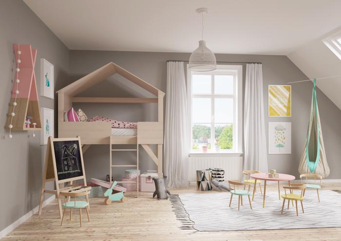 kinderzimmer skandinavisch einrichten runder tisch stühle kinderteppich