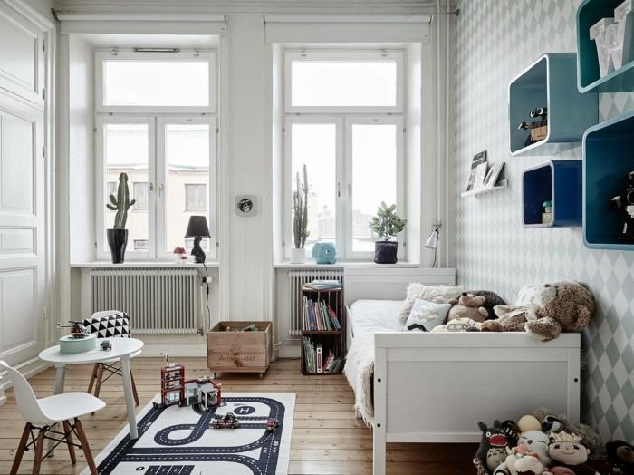 kinderzimmer skandinavisch einrichten kinderbett kinderteppich stühle runder tisch kindertapeten