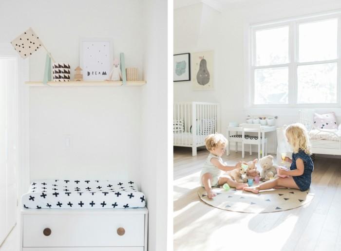 kinderzimmer skandinavisch einrichten runder kinderteppich bettwäsche happygreylucky