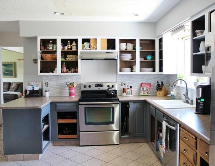 kleine küche einrichten offene wandregale bodenfliesen