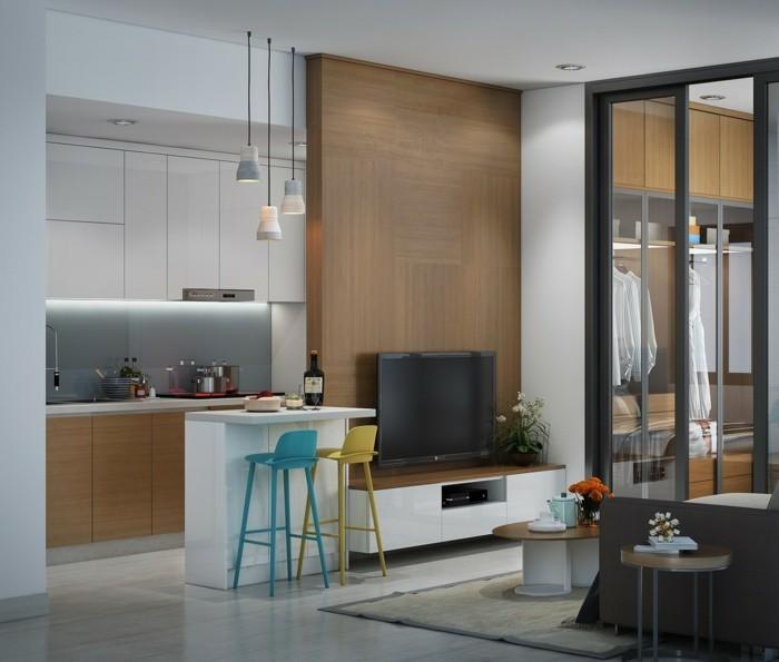 kleine küche einrichten offener wohnplan farbige barhocker holzakzente