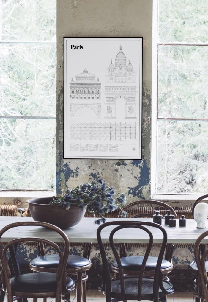 landhausstil thonet stühle esszimmer esstisch vintage stil