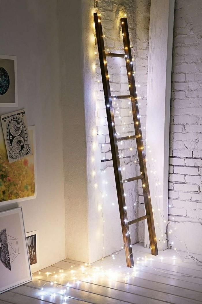 led lichterkette dekoideen treppe ziegelwand