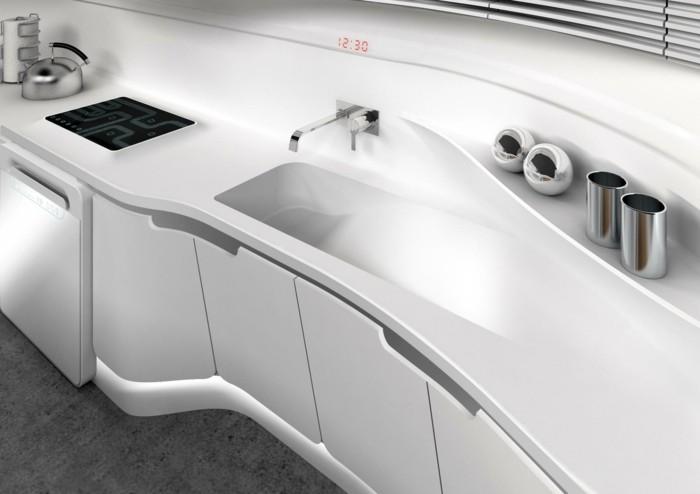 mineralwerkstoff hi macs küchengestaltung küchenspüle armatur modernes design