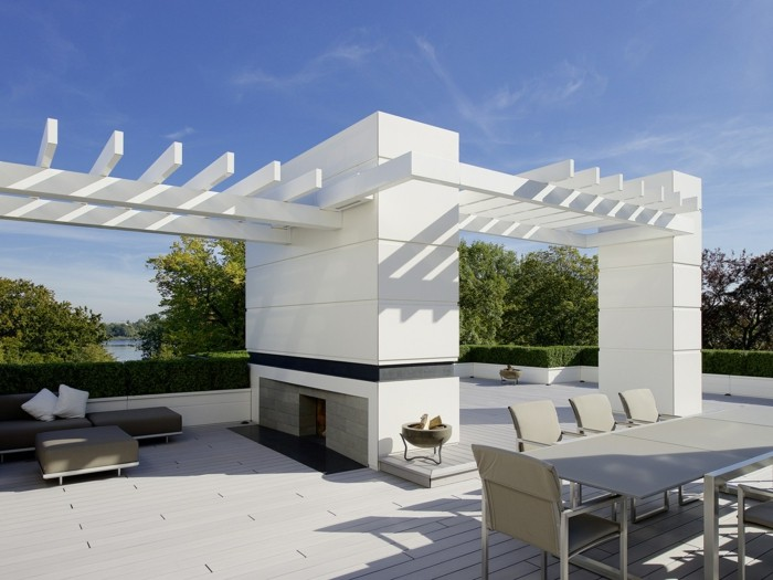 mineralwerkstoff hi macs pargola terrassengestaltung wandverkleidung