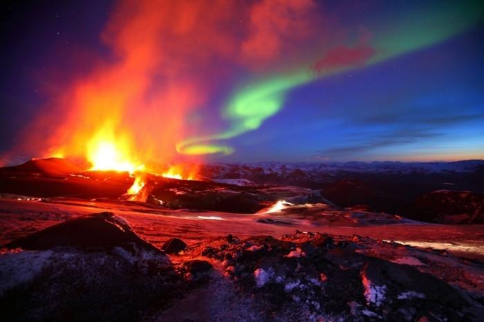 nordlicht vulkan island landschaft