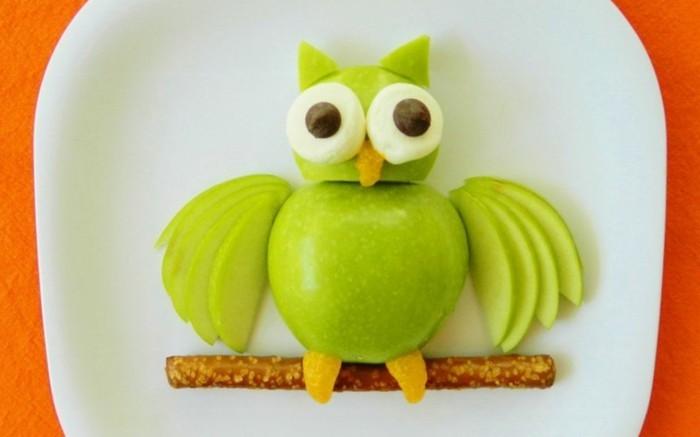 obst deko äpfel eule gesunde frühstücksideen