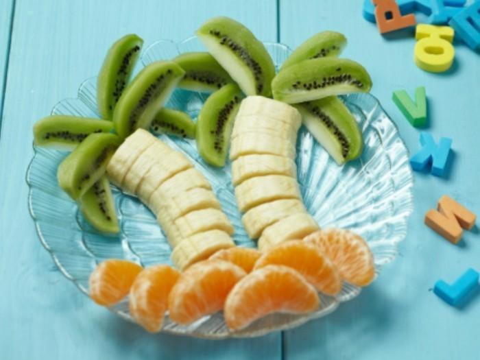 obst deko palmen bananen zitrusfrüchte kiwi