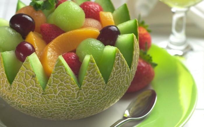 obst deko wassermelone schüssel früchte