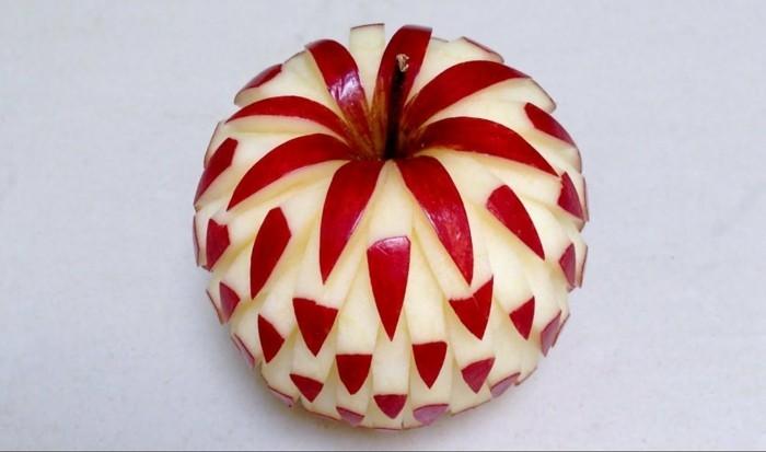 obst schnitzen äpfel schnitzen dekorativ diy