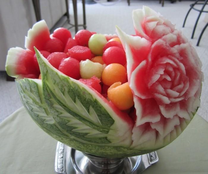 obst schnitzen wassermelone schnitzen blume fruchtschüssel