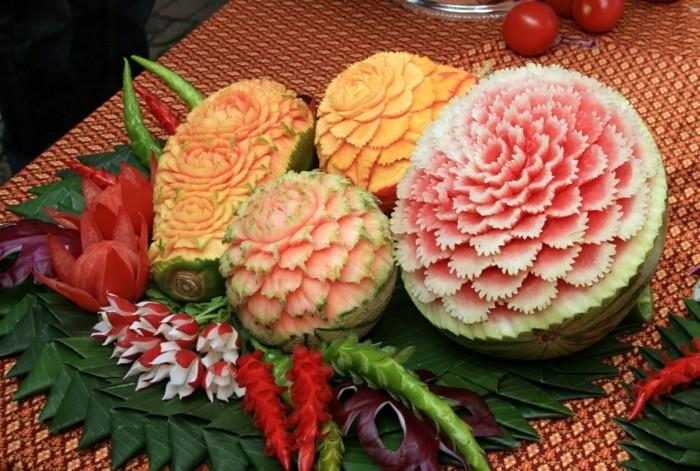 obst schnitzen dekoideen wassermelonen zuckermelonen