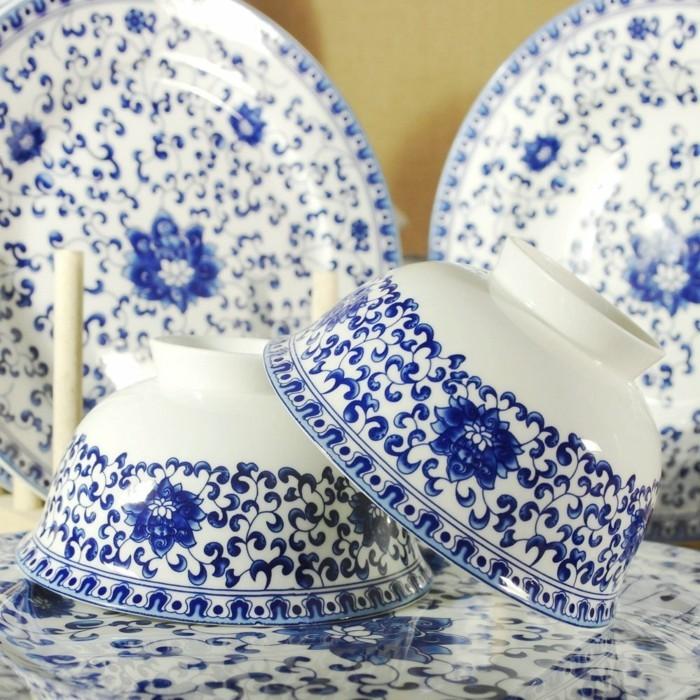 porzellan geschirr blaue muster floral