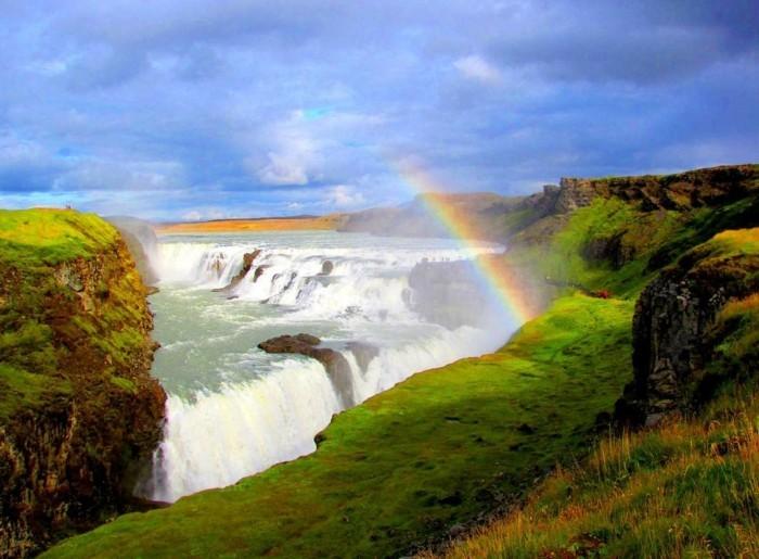 regenbogen wasserfall island