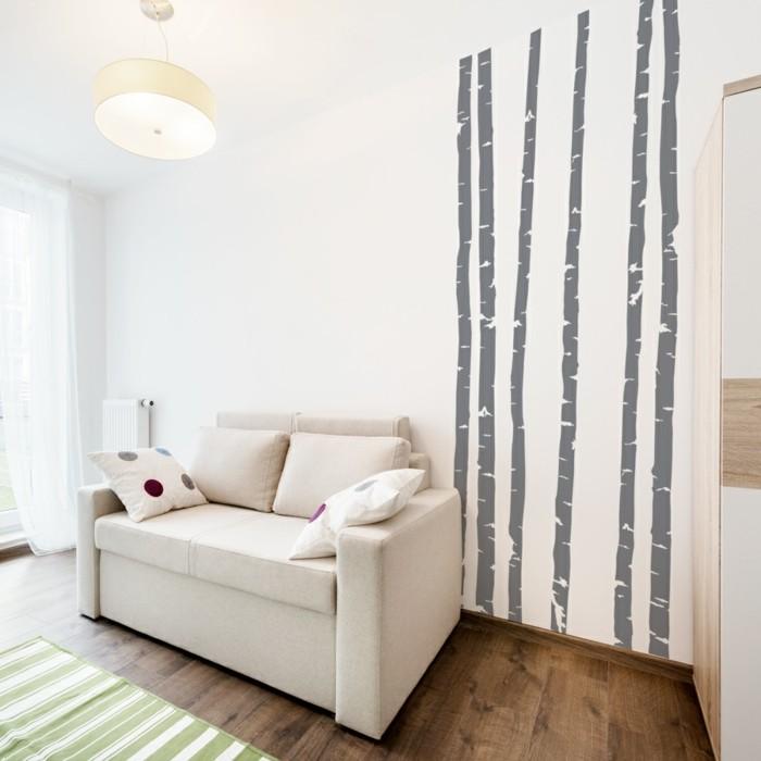 schöne wandtattoos bäume wohnideen wohnzimmer streifenteppich