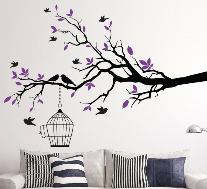schöne wandtattoos baum zweige vögel dekokissen wohnideen wohnzimmer