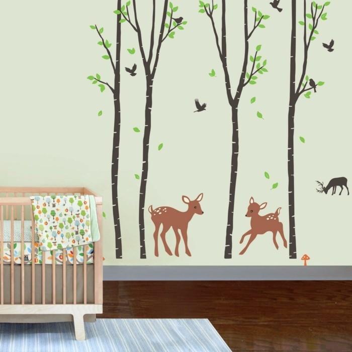 schöne wandtattoos kinderzimmer bäume tiere