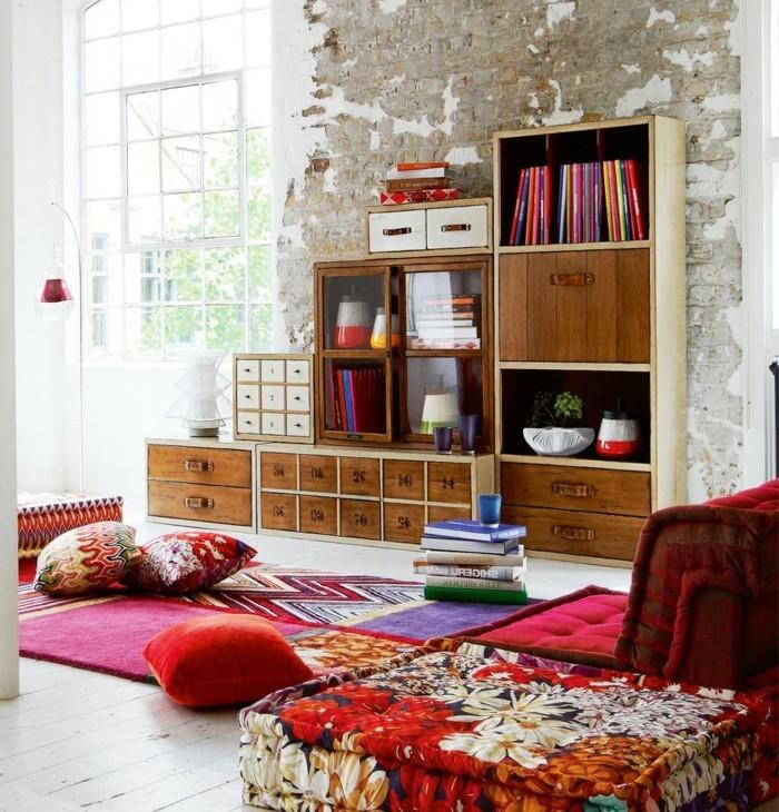 inneneinrichtung ideen teppich bunt farbenfroh