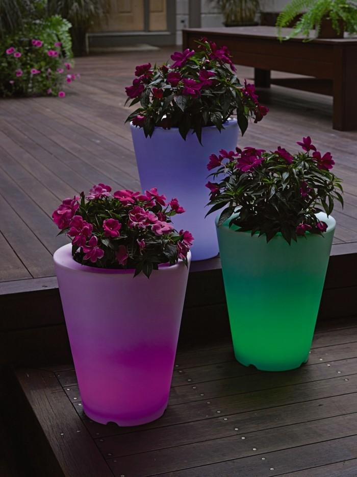 solar gartenbeleuchtung leuchtmittel solarlampen pflantöpfe farbiges licht
