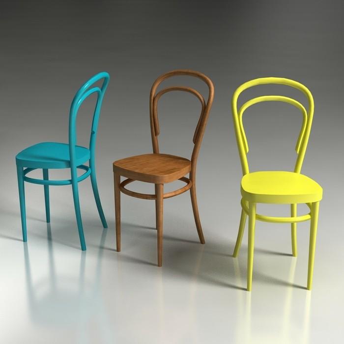 thonet stühle designklassiker bunte farben biegeholz massivholz