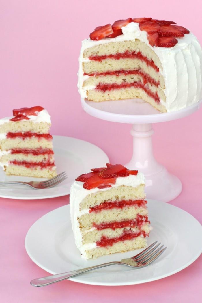 torte dekorieren ideen festliche desserts mit erdbeeren