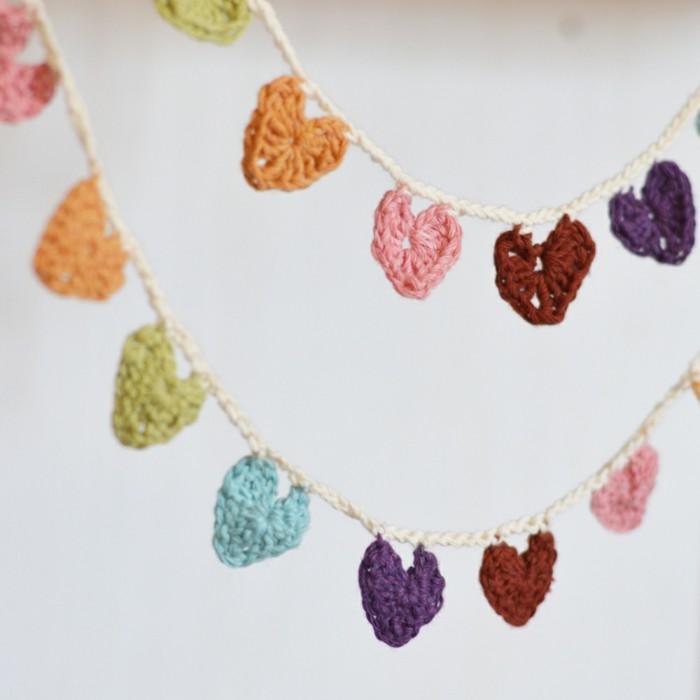 valentinstag ideen dekogirlande nähen herzen farbig