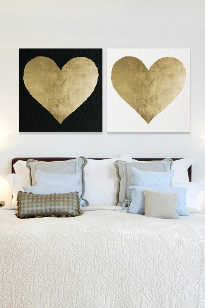 valentinstag ideen herzen schlafzimmer wanddeko