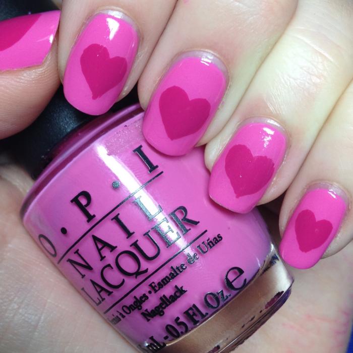 valentinstag ideen nageldesign rosa herzen