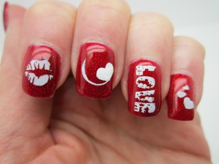 valentinstag ideen nageldesign rot weiß