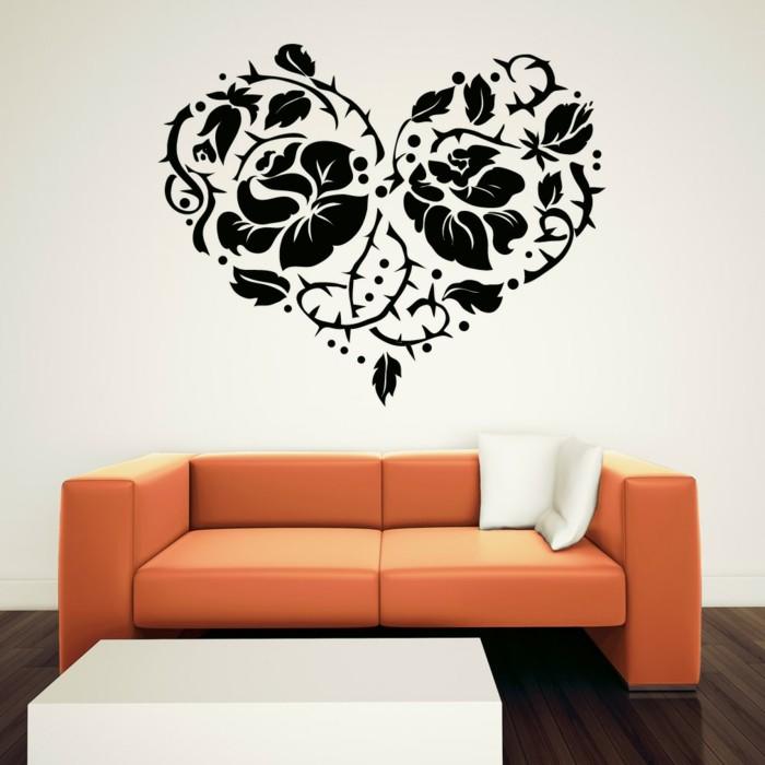 valentinstag ideen wanddeko wandsticker herz oranges sofa wohnzimmer