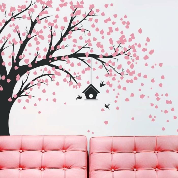 wandtattoos baum dekoideen wandgestaltung wohnzimmer