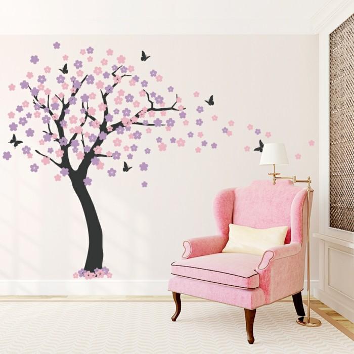wandtattoos baum kinderzimmer dekoideen mädchenzimmer dekorieren