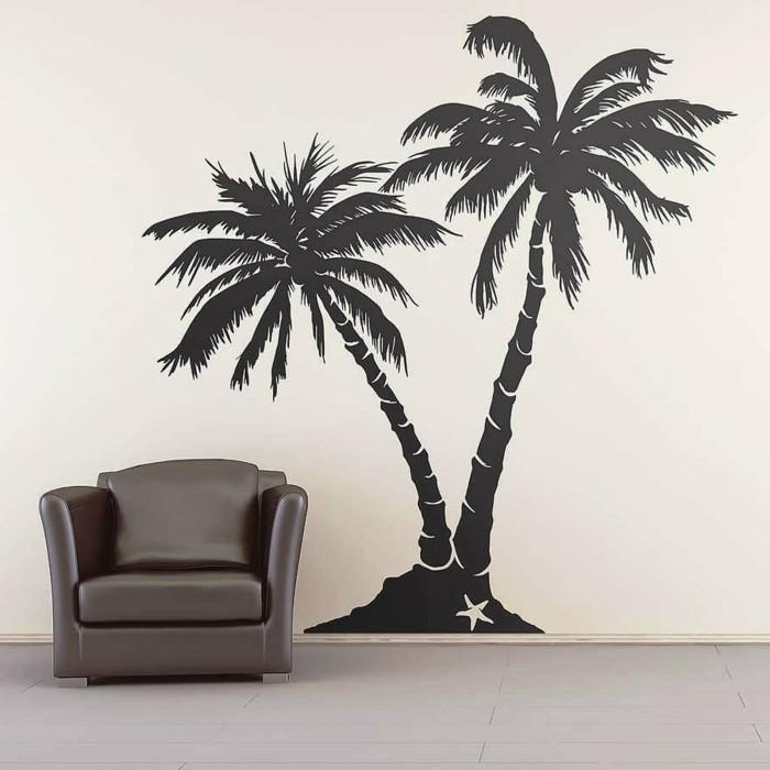 wandtattoos baum palme ledersessel dekoideen wohnzimmer