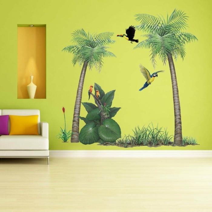 wandtattoos baum palmen grüne wand farbige dekokissen