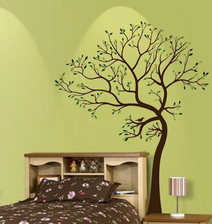 wandtattoos baum schlafzimmer einrichten ideen wanddeko