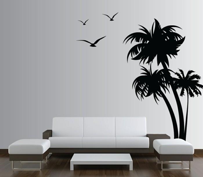 wandtattoos baum schwarzes wandtattoo weiße wohnzimmermöbel