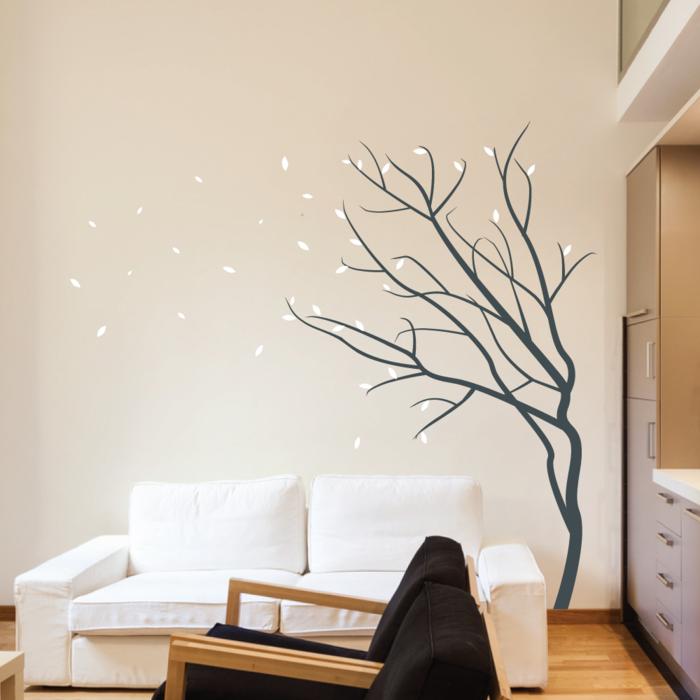 35 wandtattoos baum die einen hauch natur nach hause bringen for Wohnideen wohnzimmer wand