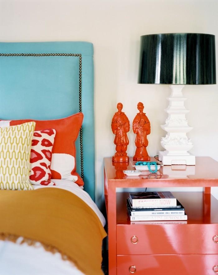 wohnideen schlafzimmer eklektisch farbig