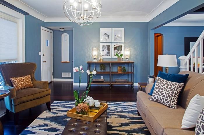 wohnideen wohnzimmer eklektisch blaue wände orchidee