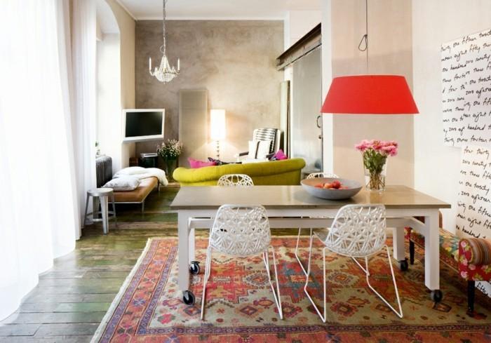 wohnideen wohnzimmer eklektisches design rote hängelampe bereiche eklektisch